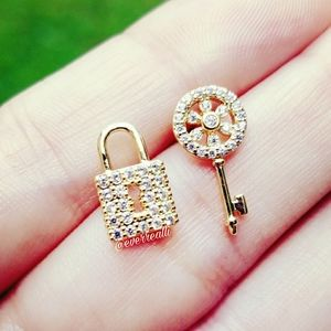 Gold Micro Pave Lock and Key Earrings